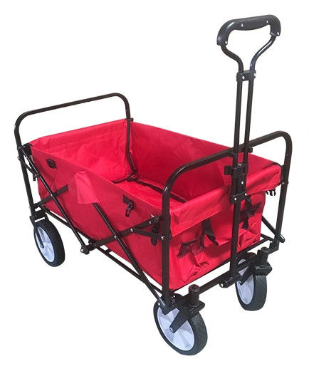 High Strength Collapsible Folding Wagon With Telescoping Handle And PVC Wheels